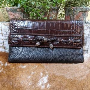 Vtg Brighton Wallet Crocodile Embossed Crossbody